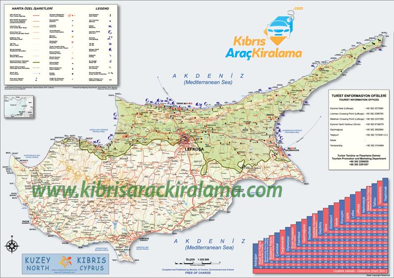 kıbrıs haritası araç kiralama